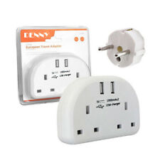 European 2 Way Travel Adapter Socket with 2 USB Ports 2 Pin EU to 3 Pin UK Plug