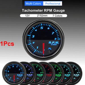 """2"""" 52mm Tachometer Gauge 0-8000 RPM Digital LED Display For 1-10 Cylinder Engine"""