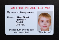 Missing Lost Child Emergency Help Personalised ID Card Double Sided