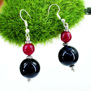 75.00 Cts Earth Mined Red Ruby & Black Onyx Round Shape Beads Designer Earrings