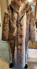 Falcone Men's Full Length Fox Fur Coat with Silver-Brown Fox Fur - Size Large