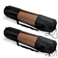 Adjustable Strap Black Nylon Yoga Pilates Mat Pad Mesh Net Carrier Bag 66 * 22cm