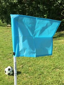 Set of four OTTOPT foldable SKY BLUE corner flags with posts, spike & carry bag