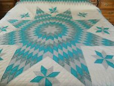 """Lone Star King Quilt Dark Aqua Turquoise Blue Hand Quilted & Pieced 106"""" x 107"""""""