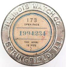 .1907 ILLINOIS 16S 15J OPEN FACE POCKET WATCH MOVEMENT CASE / SHIPPING TIN.