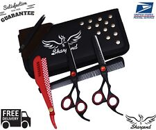 "Professional Barber Hairdressing Scissors Thinning & Hair Cutting Set 6.5"" BLACK"