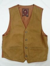 Mens Large THE TERRITORY AHEAD Lined Leather Vest Waistcoat Western Vtg Style