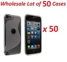 50x Clear S Design Hard Case Cover with Clear TPU Gummy Border for iPod Touch 5