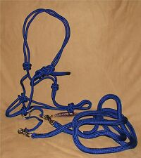 BLUE Nylon Rope Bitless Bridle and Reins by Showman - New Horse Tack