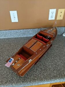 """Chris Craft Runabout Wood Model 24"""" Classic Mahogany Speed Boat"""