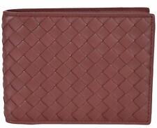 NEW Bottega Veneta Men's 148324 Russet Woven Leather Bifold Wallet W/Coin Pocket