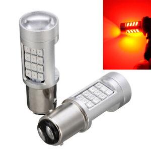 2PCS Auto Universal 1157 LED Red Flash Strobe Alert Brake Tail Stop Lights Bulb