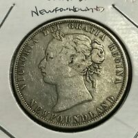 1874 NEWFOUNDLAND SILVER 50 CENTS QUEEN VICTORIA