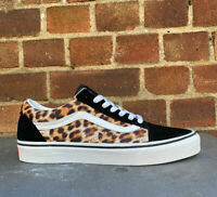 Vans Authentic Old Skool Suede Trainers LEOPARD Print Black White Unisex
