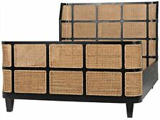 "84"" Rosalind Queen Bed Black Mahogany Woven Natural Cane Modern Contemporary"