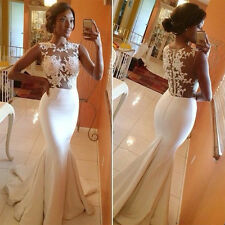 Women's White Lace Mermaid Prom Wedding Prom Gown Ball Party Evening Long Dress