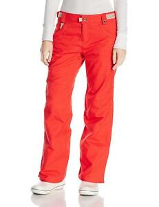 686 Women's Patron Snowboard Pant (Medium) Tomato Herringbone Denim