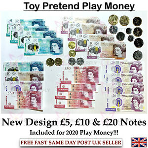 Children's Kids Play Pretend Toy Money Role Shops Cash New £5 , £10 & £20 Notes