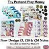 Children's Kids Play Pretend Toy Money Role Shops Cash New £5 , £10 & £20 Notes