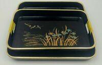 Vintage Black Lacquer Plastic Serving Trays 2 pc Nesting Tray Set Floral Japan