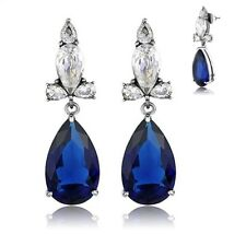 Blue CZ Earrings Vintage Inspired Stainless Steel Post Clear Accents Dangle Pear