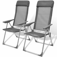 vidaXL 2x Camping Chairs Aluminum Gray Foldable Adjustable Outdoor Lounge Seat✓