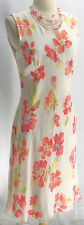 Womens VTG Petite Sophisticate Silk Peach Coral floral Easter Sleeveless Dress 8