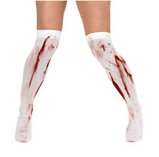 Ladies Girls White Blood Stained Horror Halloween Over The Knee Socks Stocking