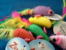 Zanies Corded Mice with Feather Tails & Rattle Cat Toy. Lot of 6.