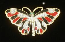 Red and Black Hand Painted Crystal Butterfly Pin