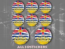 8 x Pegatinas Redondas 3D Relieve Bandera British Columbia - Todas las Banderas