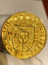 MEXICO 1715 FLEET ROYAL 8 ESCUDOS GOLD PLT PENDANT DOUBLOON COB TREASURE COIN
