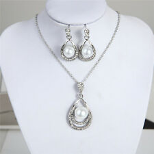 Fashion Imitation PearlJewelry Sets HollowOut Water Drop Necklace Earring Set ZB