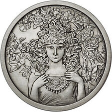 Alphonse Mucha Collection - ROSE 1 oz .999 Silver Antiqued Finish Round USA Coin