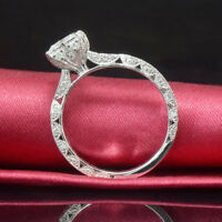 2CT Round Cut Hollow CZ Band 925 Silver Women's Wedding Engagement Ring Size 4-9