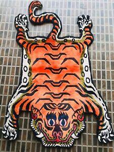 silk orange tiger skin rug