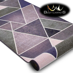 Anti Slip durable Hallway Runners TRIANGLES purple Any Size High Quality