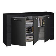 Zenia Black Oak Sideboard Buffet Unit 3 Door Cabinet Living Room Furniture