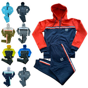 Mens Slim Tracksuit Set Polyester Hoodie Top Bottoms Jogging Joggers Gym S-2XL