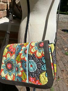 Vera Bradley Flower Shower Brown Leather Trim Shoulder Bag