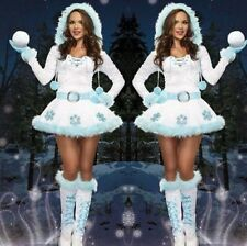 Womens Christmas White Snowman Xmas Fancy Dress Hooded Costume Sexy Belt Outfit