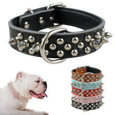 """1.0"""" wide Spiked Dog Collars for Small Medium Large Dogs Boxer Red Black"""