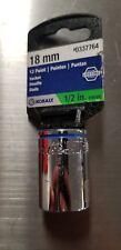 """New Kobalt 0337764 12 Point Socket 18mm 1/2"""" Drive"""