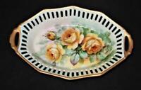 "Vintage Hand Painted, Germany, Signed C. Koenig, Pierced Decorative Tray, 8 1/4"""