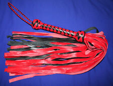 Red/Black Garment Leather Flogger w/ Diamond Pattern Handle, BDSM, Fetish