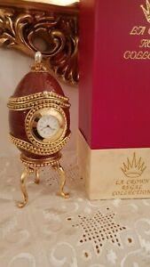 ANTIQUE FABERGE Egg Mens Gift Clock 1992 Musical Jewelry Egg 24k GOLD HANDMDE