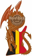 Hard Rock Cafe BRUSSELS 2019 Core 3-D DRAGON & FLAG GUITAR Series PIN New!