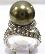 12mm white pink gray black coffee green purple shell pearl jade 18 KGP ring