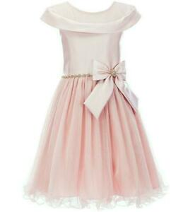 """NEW Rare Editions Girls Size 6 """"MAUVE PINK JEWELED BOW"""" Mikado Dress OOPS!"""