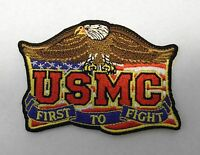 FIRST TO FIGHT USMC US MARINE CORPS MARINES EMBROIDERED PATCH 3.5 INCHES